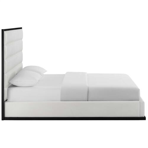 Ashland Queen Faux Leather Platform Bed in White