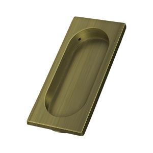 "Deltana - Flush Pull, Large, 3-7/8"" x 1-5/8"" x 3/8"" - Antique Brass"