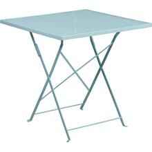 "Commercial Grade 28"" Square Sky Blue Indoor-Outdoor Steel Folding Patio Table"