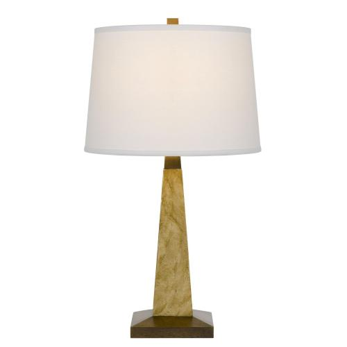 150W 3 way Ravenna resin pyramid design table lamp with hardback taper fabric drum shade