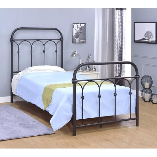 Hallwood Bed - Twin, Rust Black Finish