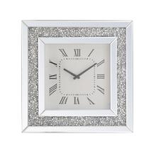 20 inch Square Crystal Wall Clock Silver Royal Cut Crystal