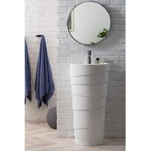 "Quebec 17.5"" Solid Surface Pedestal Sink, Bright White"