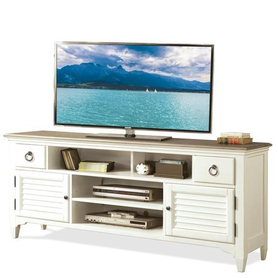 Riverside - Myra - 74-inch TV Console - Natural/paperwhite Finish