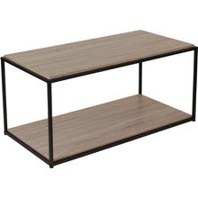 View Product - Midtown Collection Sonoma Oak Wood Grain Finish Coffee Table with Black Metal Frame