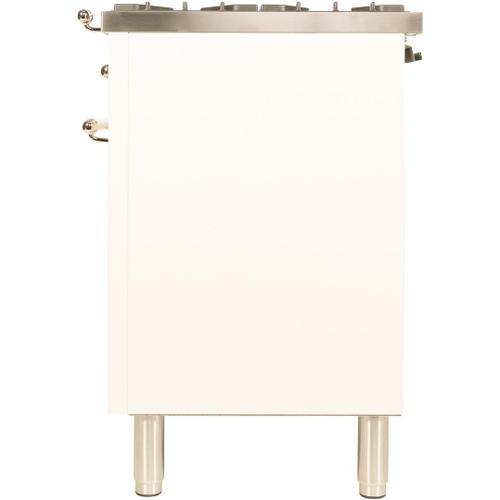 Nostalgie 48 Inch Dual Fuel Natural Gas Freestanding Range in Antique White with Brass Trim