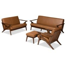 See Details - Baxton Studio Bianca Mid-Century Modern Walnut Brown Finished Wood and Tan Faux Leather Effect 4-Piece Living Room Set
