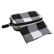 Black & White Buffalo Plaid Travel Throw with Pouch (2 pc. set)
