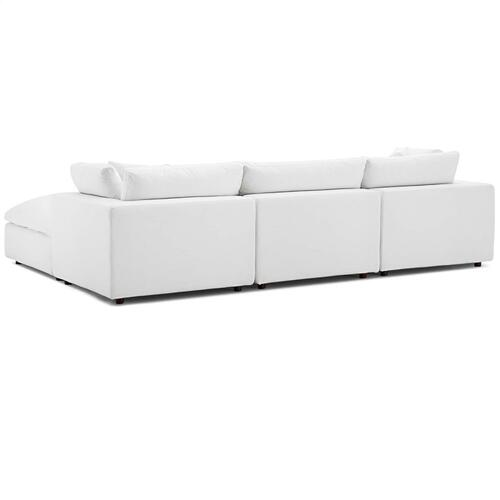 Commix Down Filled Overstuffed 4 Piece Sectional Sofa Set in White