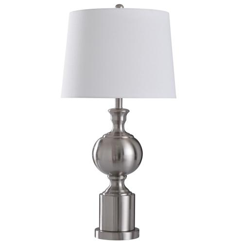 Brushed Steel  30in Transitional Promo Brushed Steel Metal Table Lamp  150 Watts  3-Way