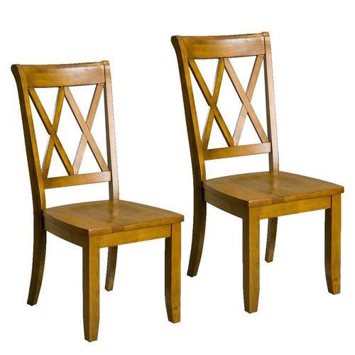 Vintage Distressed 2-Pack Honey Oak Side Chairs