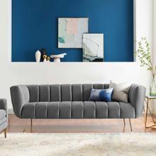 Favour Channel Tufted Performance Velvet Sofa in Gray