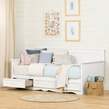 Daybed with 3 Storage Drawers - Pure White