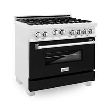 ZLINE 36 in. Professional 4.6 cu. ft. 4 Gas on Gas Range in DuraSnow® Stainless Steel with Black Matte Door (RGS-BLM-36)