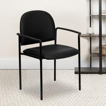 View Product - Comfort Black Vinyl Stackable Steel Side Reception Chair with Arms