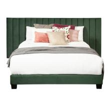 See Details - King One Box Channeled Wall Upholstered Bed - Emerald Green