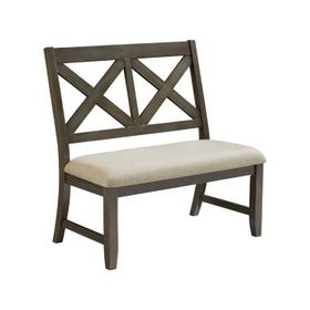 Omaha X-Back Bench with Upholstered Seat, Grey