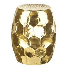 Gold Honeycomb Drum Table