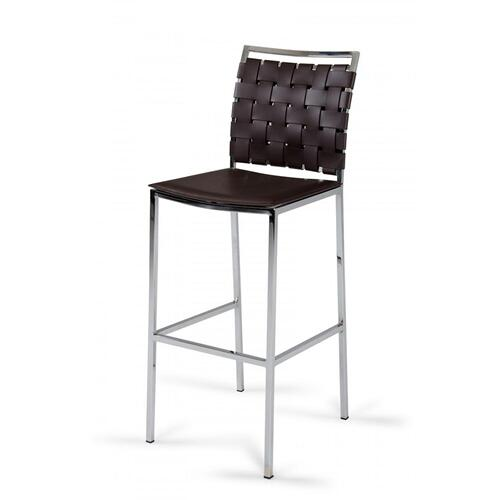 Shasta - Modern Brown Eco-Leather Bar Stool (Set of 2)