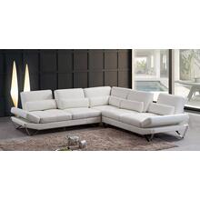 Divani Casa Aventura Modern Snow White Leather Sectional Sofa