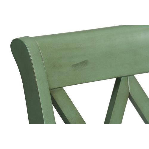 Vintage Distressed 2-Pack Green Counter Height Stools