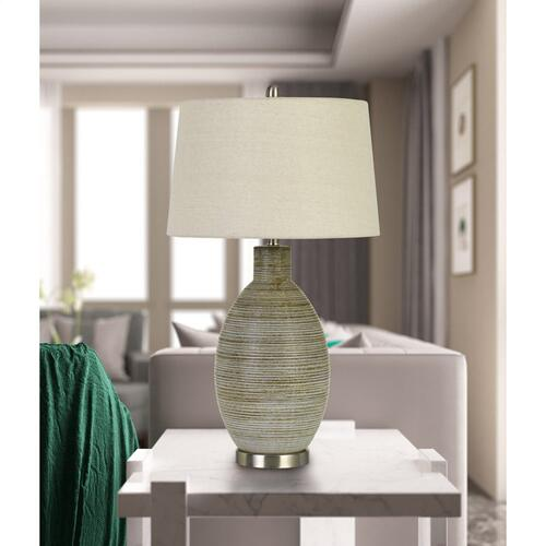 Pomezia Ceramic Table Lamp With Hardback Fabric Shade (Sold And Priced As Pairs)