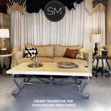 "See Details - Twist Wrought Iron Table Rectangular Travertine Cream Top - 1211AA - 60""X32"" / Peach Chiseled / Chocolate Espresso"
