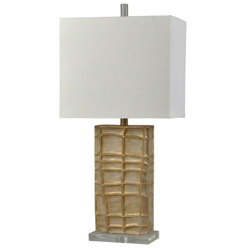 L314395  Angelo Gold Traditional Crystal Glass Accent Table Lamp  100W  3-Way  Hardback Rectangle Shade