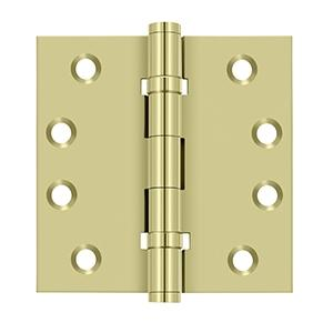 "4"" x 4"" Square Hinges, Ball Bearings - Unlacquered Brass"
