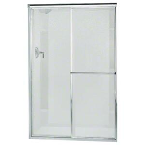 """Deluxe Sliding Shower Door - Height 65-1/2"""", Max. Opening 51-1/2"""" - Silver with Pebbled Glass Texture Product Image"""