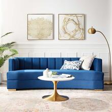Encompass Channel Tufted Performance Velvet Curved Sofa in Navy