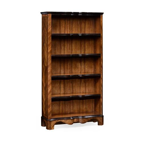 Argentinian walnut tall open bookcase