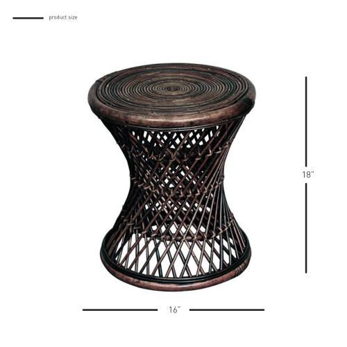 Keala Rattan Round Stool, Light Croco