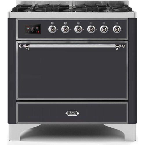 Gallery - Majestic II 36 Inch Dual Fuel Natural Gas Freestanding Range in Matte Graphite with Chrome Trim