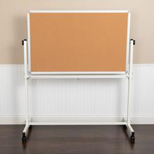 """See Details - HERCULES Series 53""""W x 59""""H Reversible Mobile Cork Bulletin Board and White Board with Pen Tray"""
