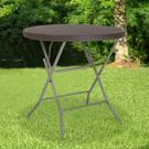 2.6-Foot Round Brown Rattan Plastic Folding Table Product Image