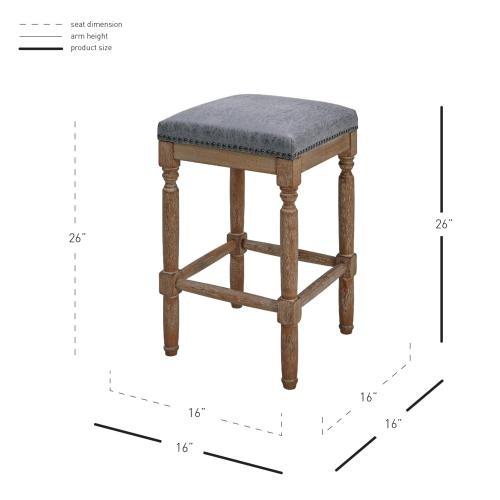 Ernie KD PU Counter Stool Drift wood Legs, Nubuck Charcoal