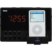 Clock radio audio system with built-in dock for iPod and USB connectivity (black)
