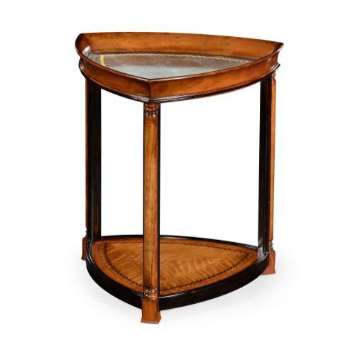 Walnut & eglomise triangular lamp table