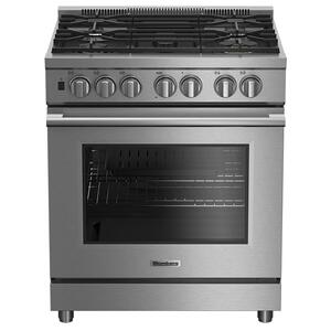 "Blomberg Appliances  30"" Pro dual fuel stainless range with 5.7 cu ft self clean oven, 5 burner, track light"