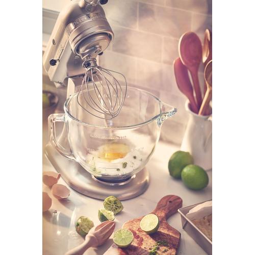 KitchenAid - Artisan® Design Series 5 Quart Tilt-Head Stand Mixer with Glass Bowl - Sugar Pearl Silver