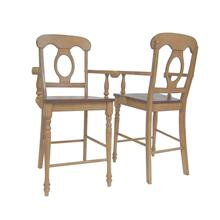 DLU-BR-B50A-PW-2  Brook Napoleon Barstool with Arms  Two Toned Light Wood  Counter Height Stool  Set of 2
