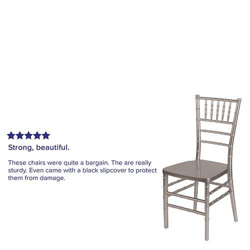 Flash Furniture - HERCULES PREMIUM Series Pewter Resin Stacking Chiavari Chair