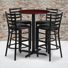 30'' Round Mahogany Laminate Table Set with X-Base and 4 Ladder Back Metal Barstools - Black Vinyl Seat