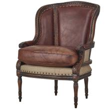 See Details - French Wing Chair w/ Leather