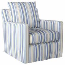 See Details - Slipcovered Swivel Chair w/Box Cushion & Track Arm - Seaside Beach Striped