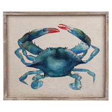 Framed Watercolor Blue Crab Wall Decor