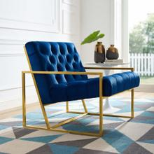 Bequest Gold Stainless Steel Performance Velvet Accent Chair in Navy
