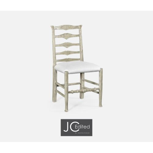 Rustic Grey Ladder Back Side Chair, Upholstered in COM