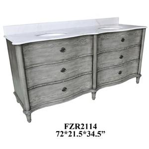 """Grayson Curved 4 Drawer 72"""" Double Vanity Sink Product Image"""